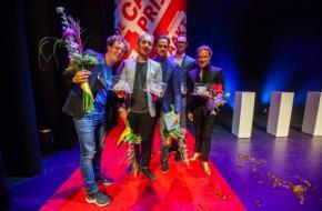 De prijsdieren: Van links naar rechts: Jochem Myjer, Rundfunk, Tim Fransen en Joost Spijkers